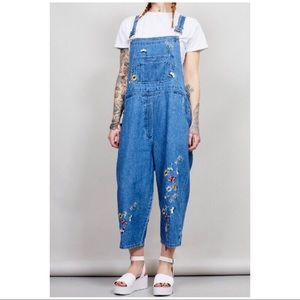 AGAPO CROPPED EMBROIDERED DUNGAREES ~ Size Large